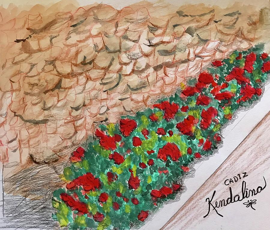 Flowers Against Ancient Wall in Cadiz Spain by Kenlynn Schroeder