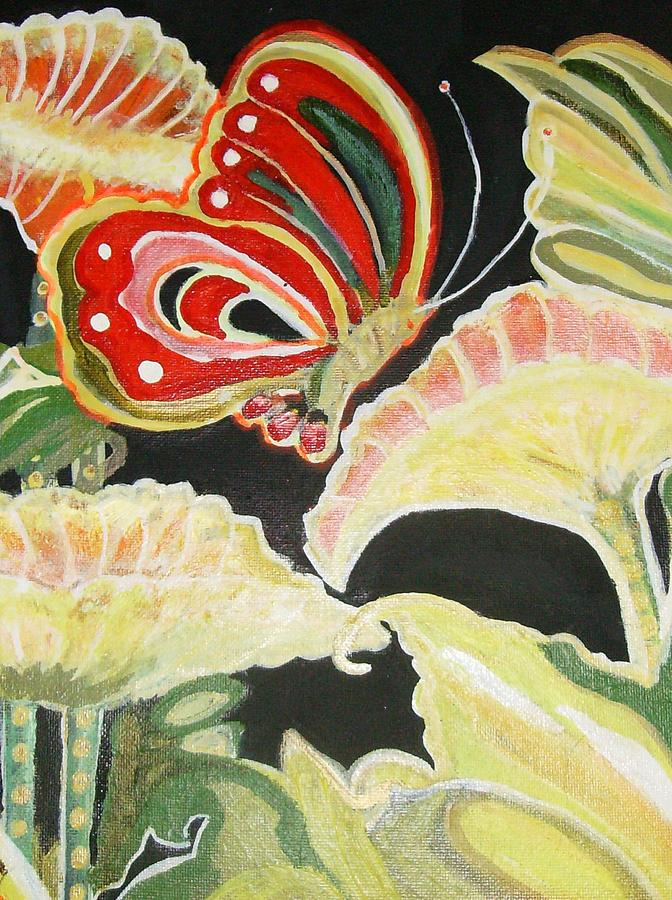Flores Painting - Flowers And Butterfly by Anne-Elizabeth Whiteway