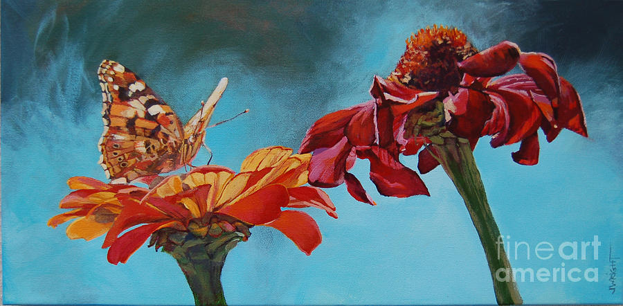 Gerber Daisies Painting - Flowers And Butterfly by Janice Wright