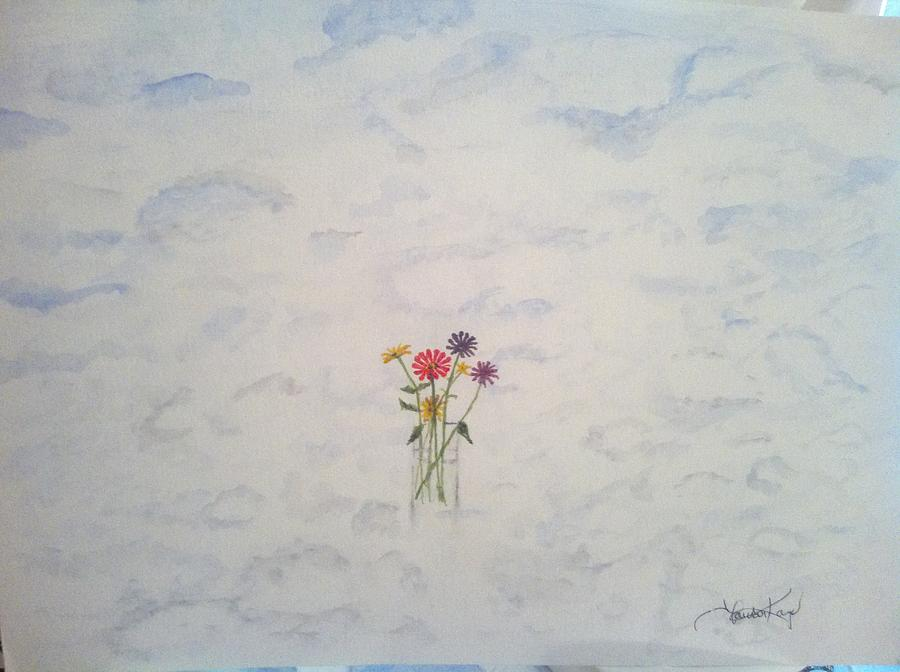 Clouds Painting - Flowers And Clouds by Laura Kaye