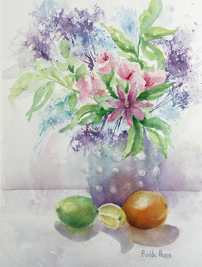 Still Life Painting - Flowers And Fruit by Bobbi Price