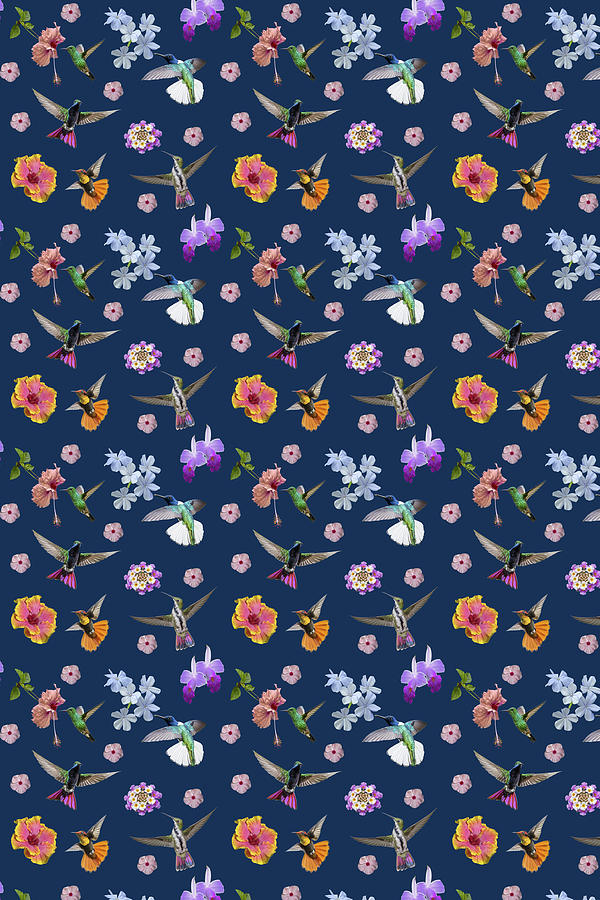 Hummingbird Digital Art - Flowers And Hummingbirds 2 by Rachel Lee Young