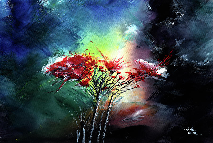 Nature Painting - Flowers by Anil Nene