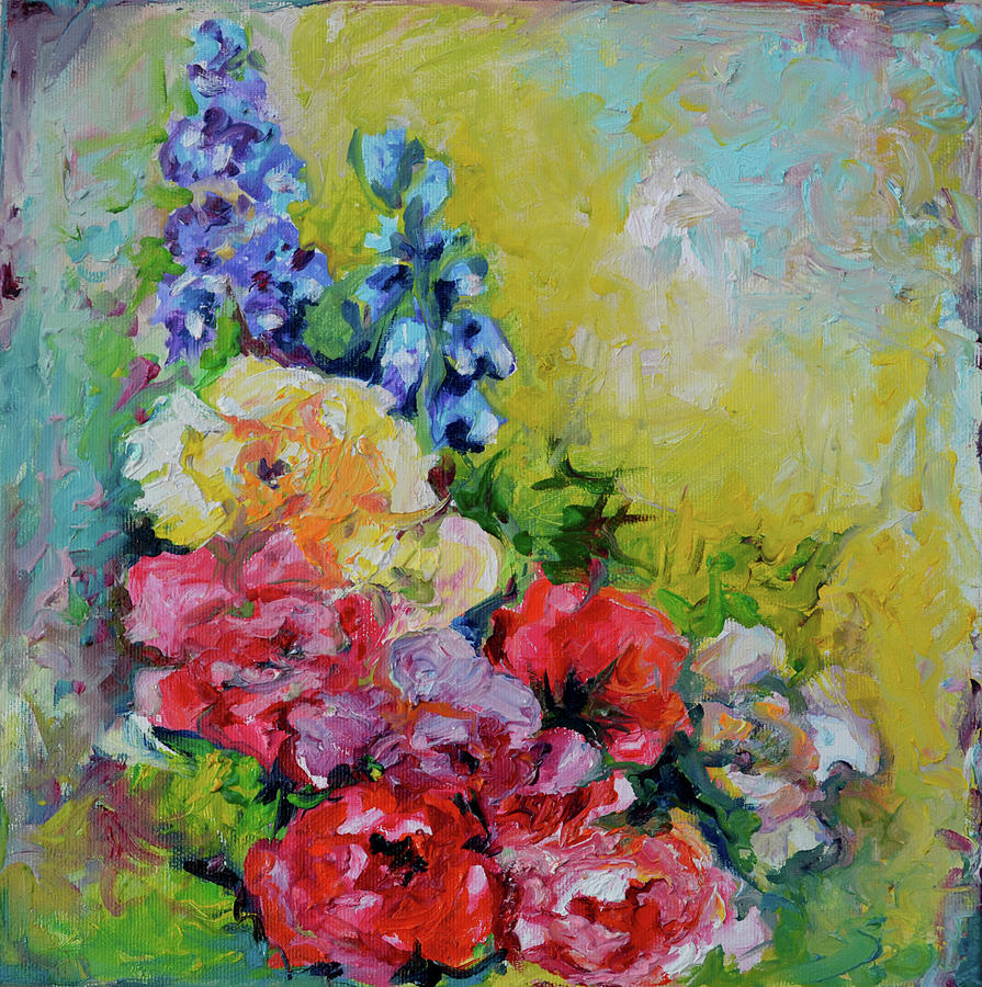 Flowers bouquet blue red and yellow flowers original modern flowers painting flowers bouquet blue red and yellow flowers original modern floral oil izmirmasajfo Image collections