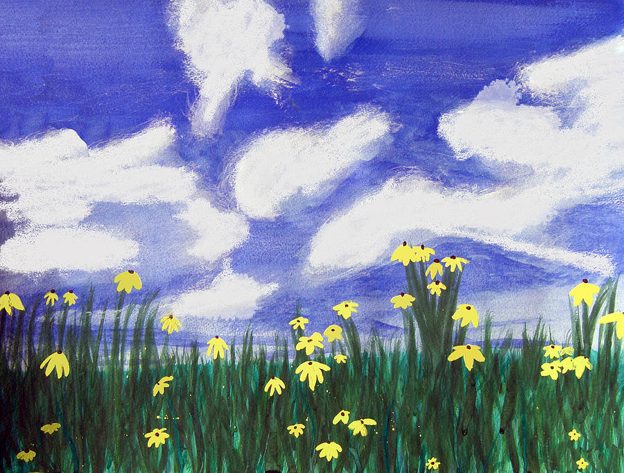 Acrylic Painting - Flowers Bright Field by Lee Serenethos