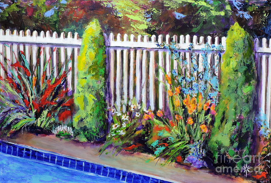 flowers by the pool by Jodie Marie Anne Richardson Traugott          aka jm-ART