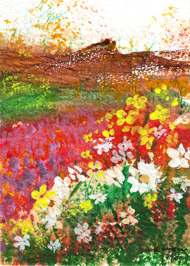 Flowers Painting - Flowers By The Sea by Kerry Hartjen