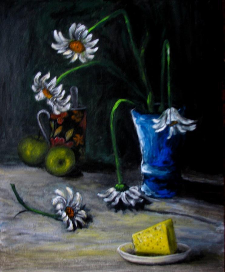 Flower Painting - Flowers Camomiles Still Life Acrylic Painting by Natalja Picugina