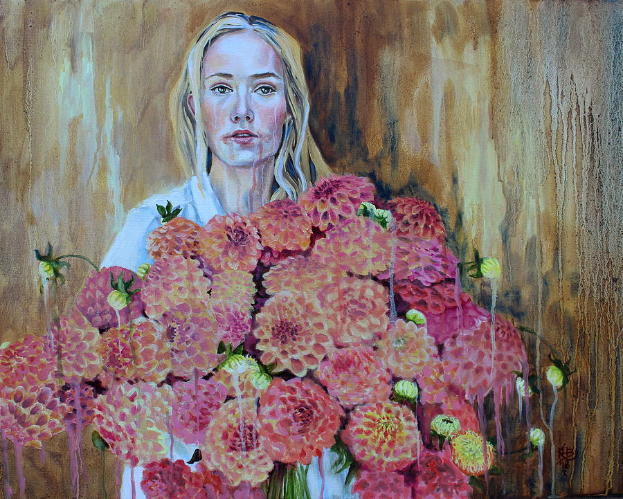 Dahlias Painting - Flowers Didnt Fill Her by Kirsten Beitler
