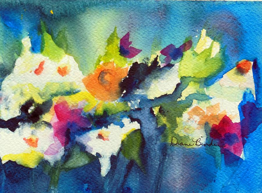 Blue Mood Painting - Flowers for a blue mood by Diane Binder