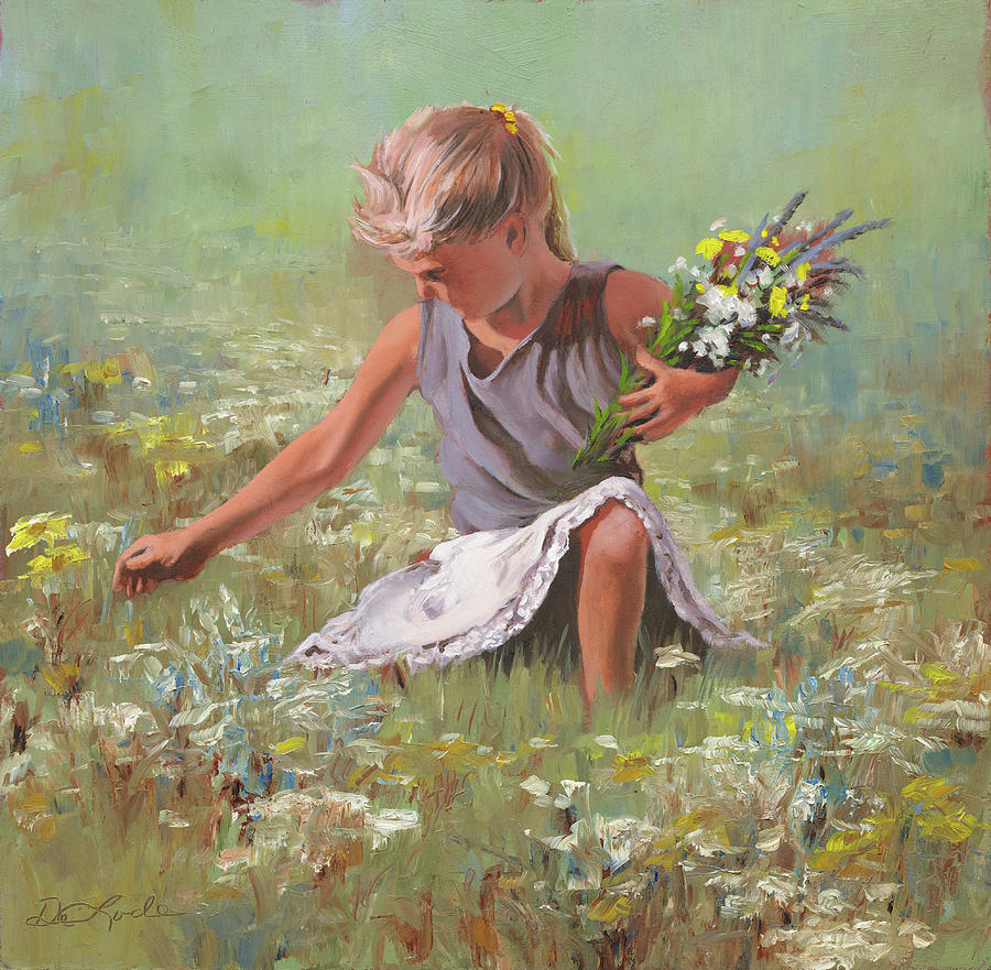 Girls Painting - Flowers For Mom by Mia DeLode