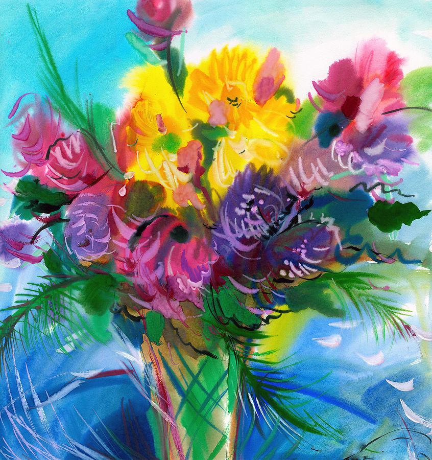 Abstract Paintings Painting - Flowers For My Jesus by Karen Showell