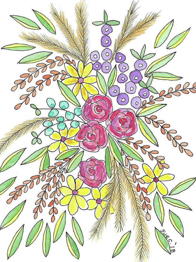 Watercolor And Ink Painting - Flowers For You by Susan Campbell