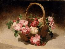 Still Life Painting - Flowers in a Basket by Achille CESBRON