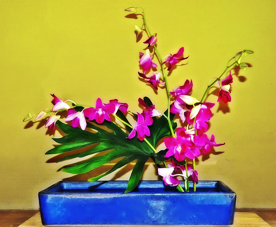 Flowers Photograph - Flowers In A Blue Dish - Japanese House by Bill Cannon