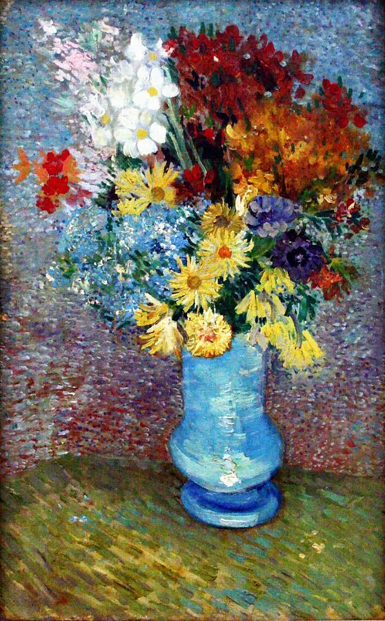 Vincent Van Gogh Painting - Flowers In A Blue Vase  by Van Gogh