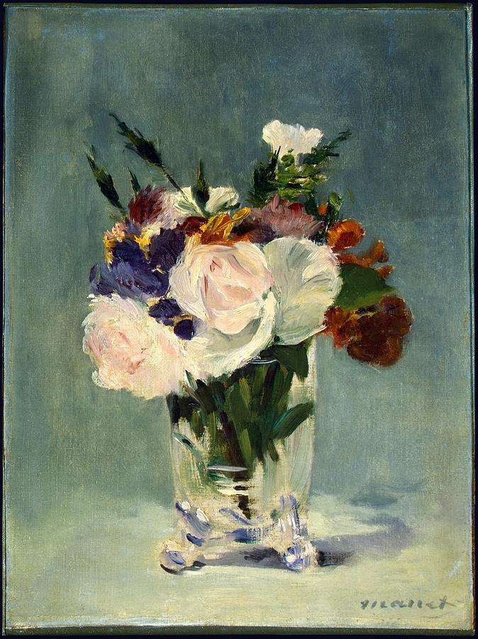 Flowers Painting - Flowers in a Crystal Vase by Celestial Images