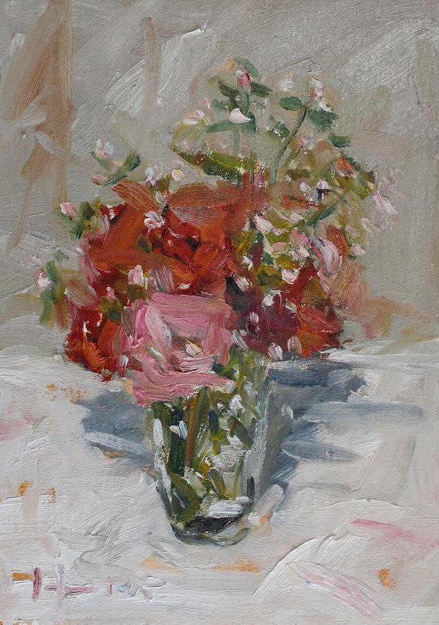 Oil On Canvas Painting - Flowers In A Glass by Owen Hunt
