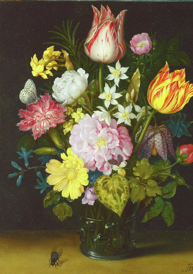 Flower Painting - Flowers In A Glass Vase Follower by Ambrosius Bosschaert The Elder & Flowers In A Glass Vase Follower Painting by Ambrosius Bosschaert ...