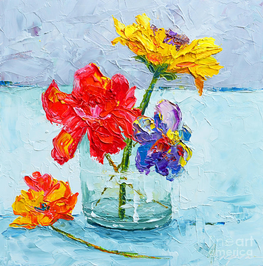 Flowers in a glass vase peonies and daisies modern red flower painting flowers in a glass vase peonies and daisies modern impressionist reviewsmspy