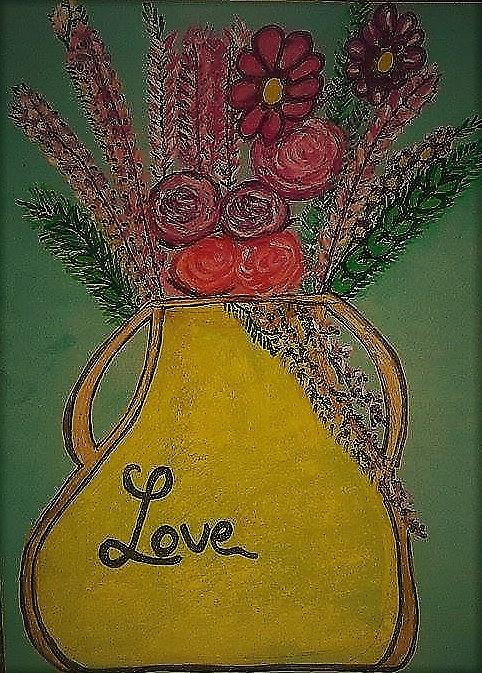 Flowers Pastel - Flowers in a love vase by Lynette Fekete
