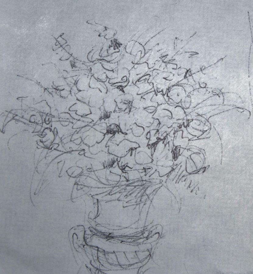 Flowers In A Vase In Church Drawing By Kassius Wilson