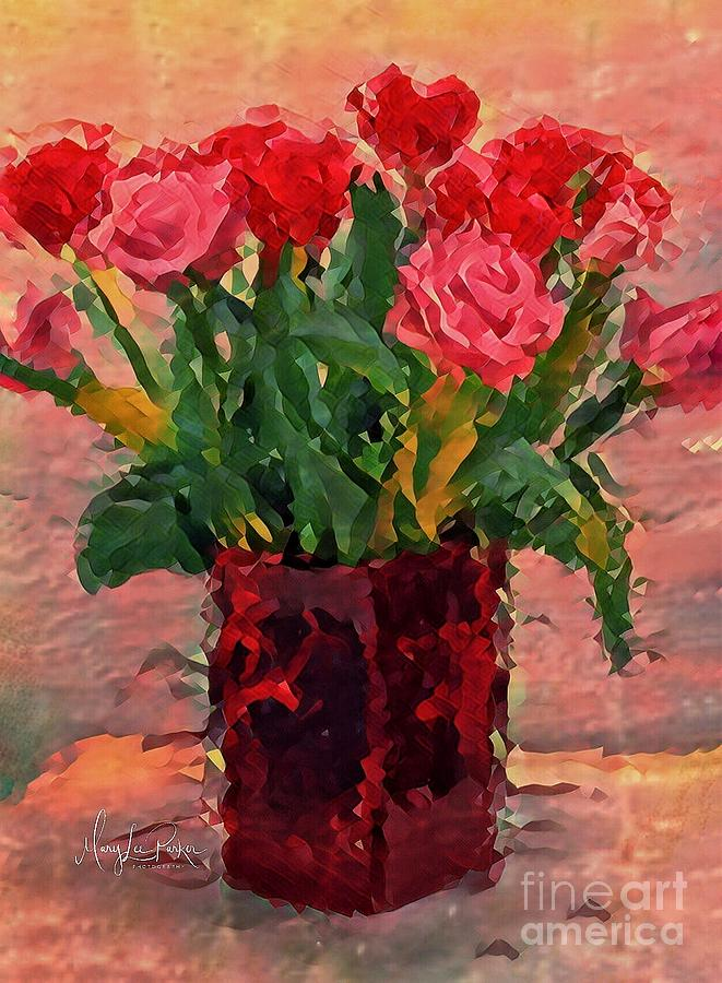 Flowers Digital Art - Flowers In A  Vase by MaryLee Parker
