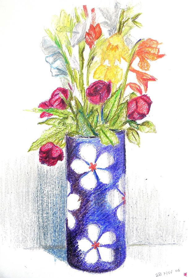 Flower Vase Pastel - Flowers In A Vase by Naveen Wagh