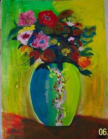 Flowers Painting - Flowers In Chinese Vase by Lori Tan