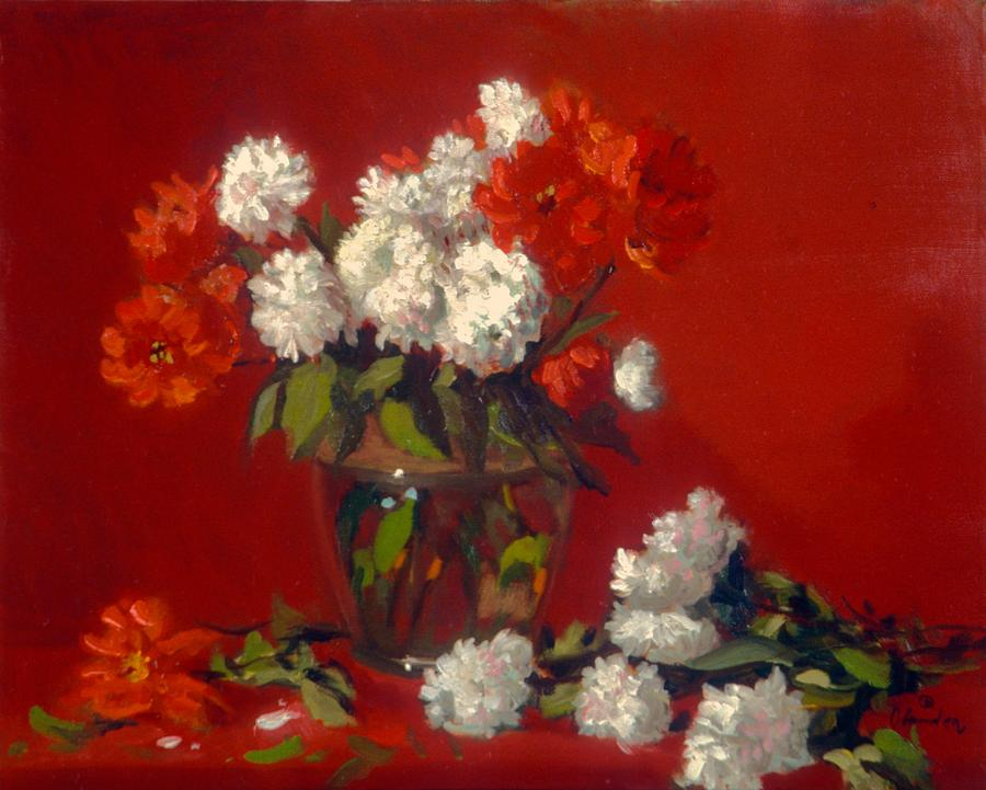 Flowers In Clear Vase    Red Background Painting by David Olander