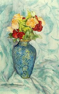 Flowers In Cloissone Vase Painting by Carol Grace Miller
