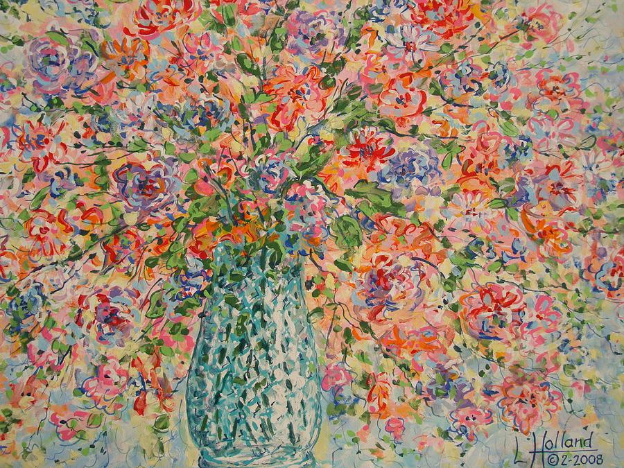 Flowers Painting - Flowers In Crystal Vase. by Leonard Holland