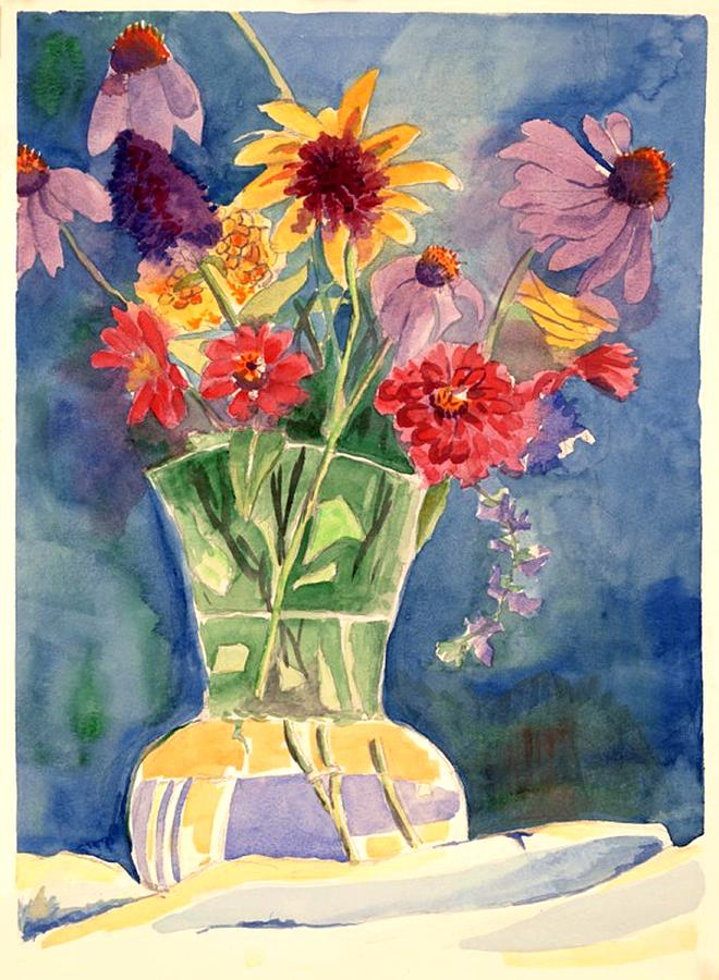 Flowers In Glass Vase Painting - Flowers In Glass Vase by Judy Swerlick
