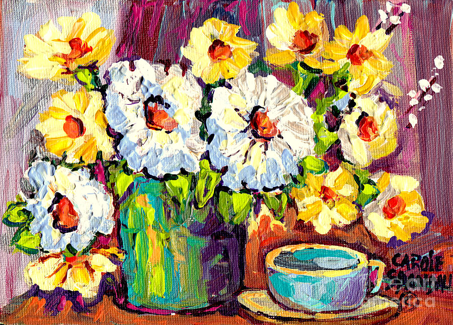 Flowers in green vase and cup colorful hand painted for Original oil paintings for sale by artist