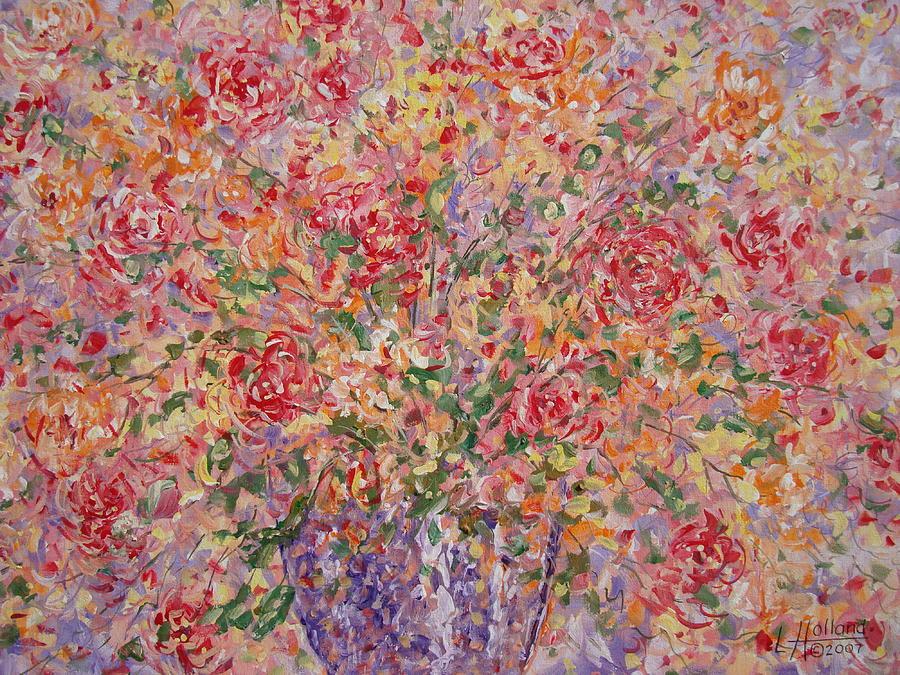 Flowers Painting - Flowers In Purple Vase. by Leonard Holland
