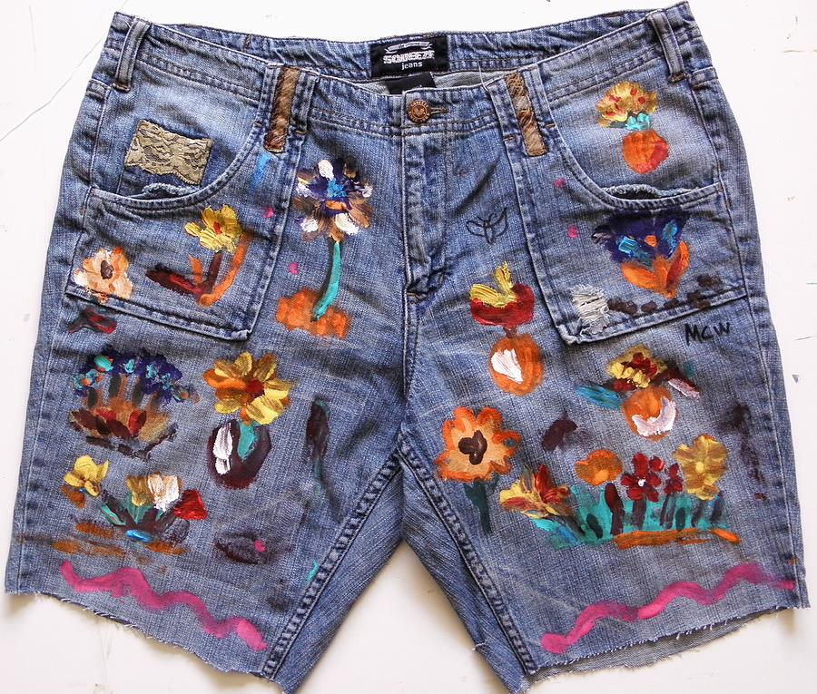 Denim Painting - Flowers In The Recycle Garden by Mary Carol Williams
