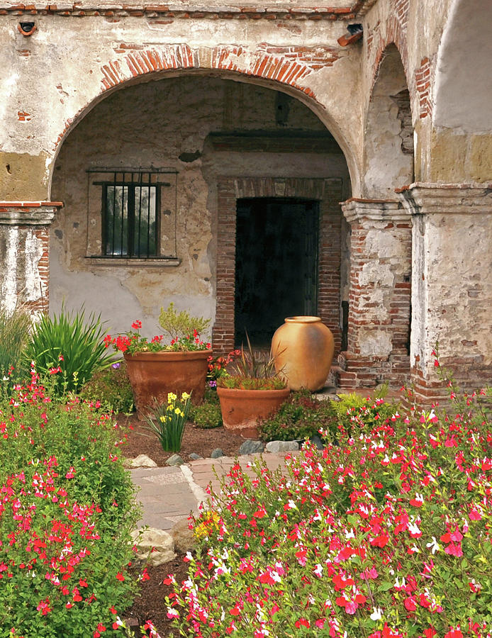 California Missions Photograph - Flowers In The South Wing, Mission San Juan Capistrano, California by Denise Strahm