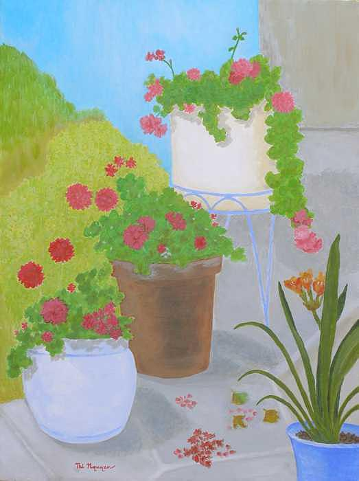 Flowers Painting - Flowers In Various Pots by Thi Nguyen