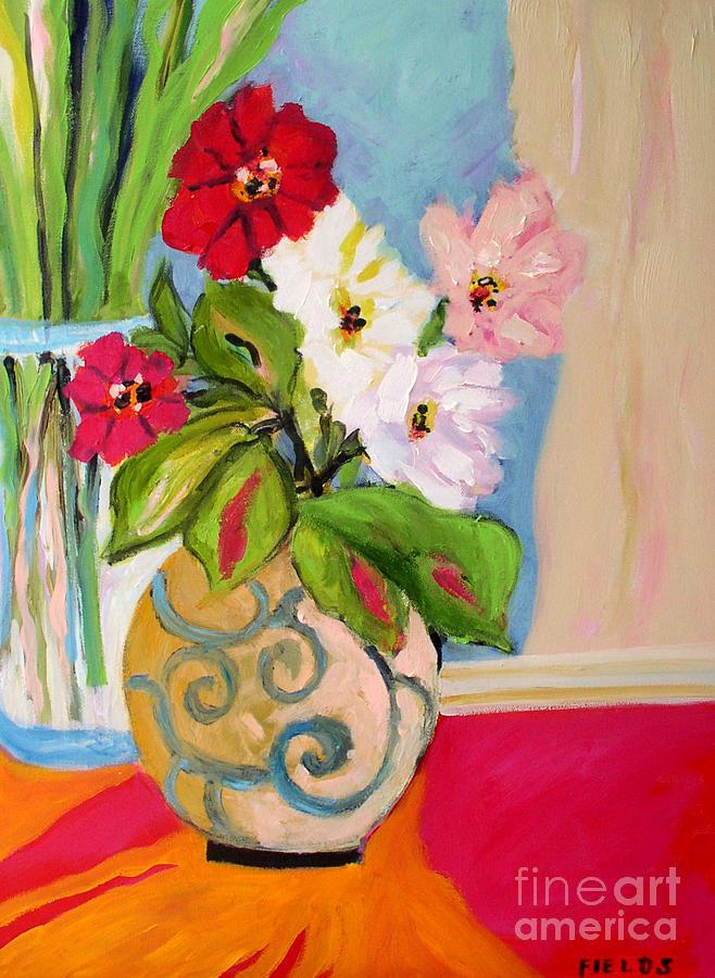 Flowers In Vases Painting by Karen Fields