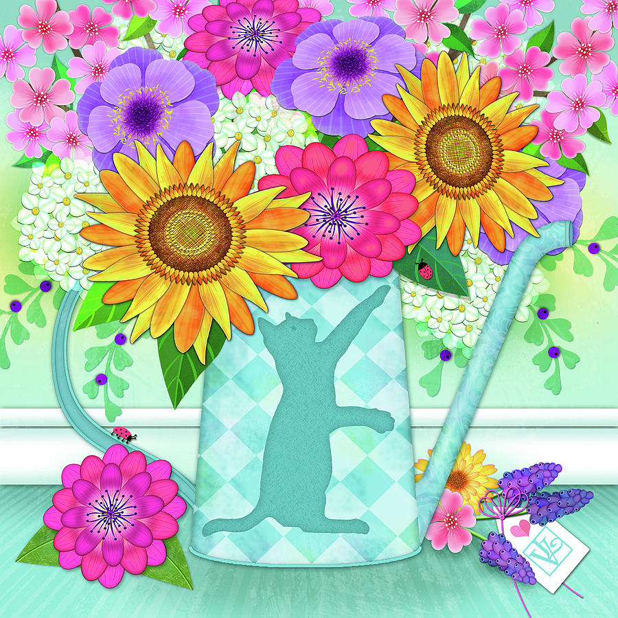 Flowers in Watering Can by Valerie Drake Lesiak