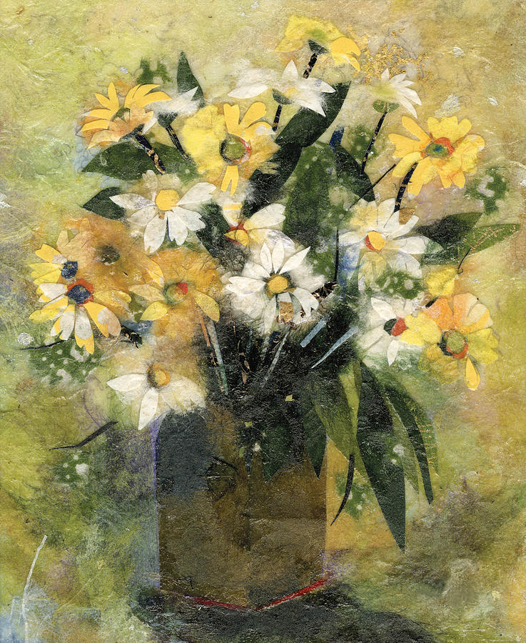Flowers Painting - Flowers In White And Yellow by Nira Schwartz