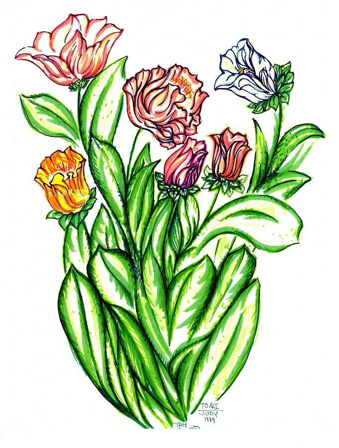 Flowers Of Fantasy Drawing by Judith Herbert