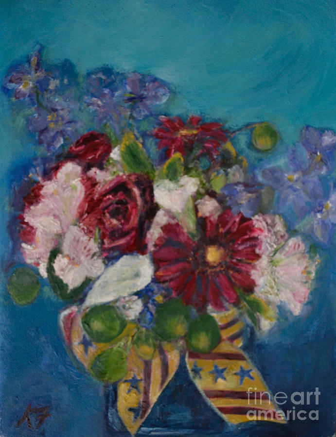 Flowers Painting - Flowers of Remembrance by Karen Francis