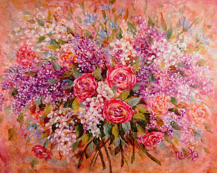 Romantic Flower Painting - Flowers Of Romance by Natalie Holland