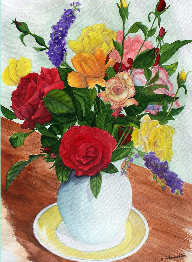 Floral Painting - Flowers On A Cat Dish by Robert Thomaston