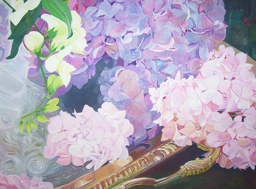 Flowers On A Golden Tray Painting by Ewald Smykomsky at Beyond Gallery Cafe of Kathlin Austin