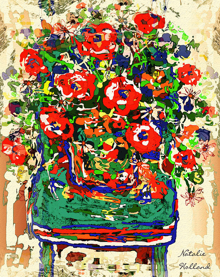 Flowers Mixed Media - Flowers On Green Chair by Natalie Holland