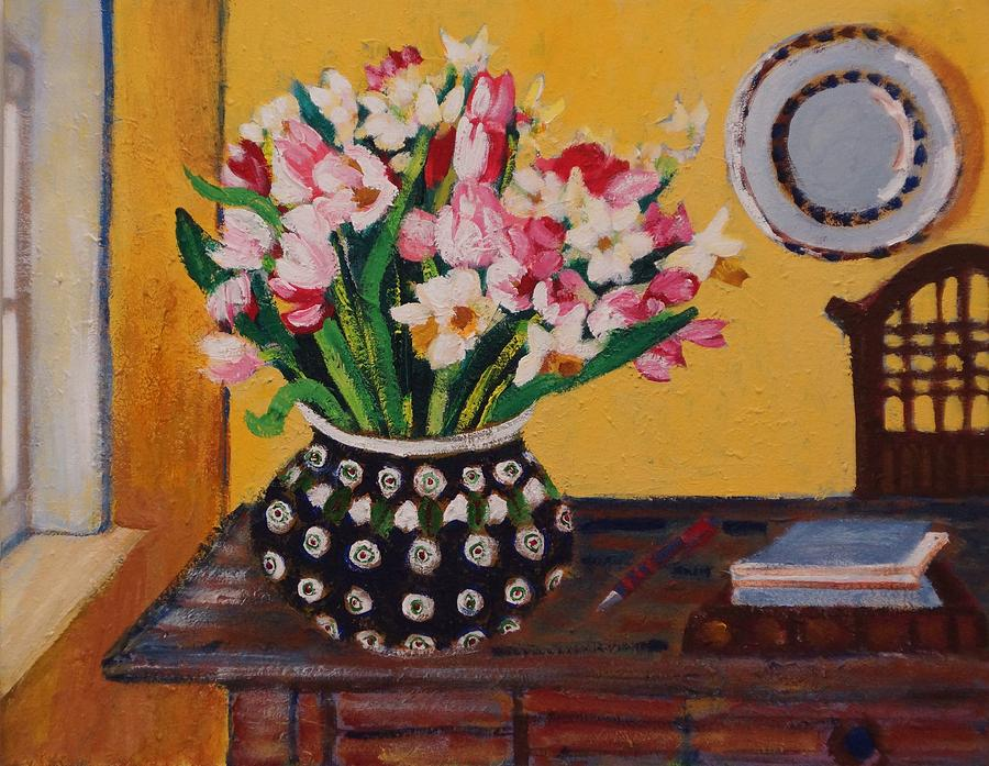 Floral Painting - Flowers On The Desk by Fran Steinmark