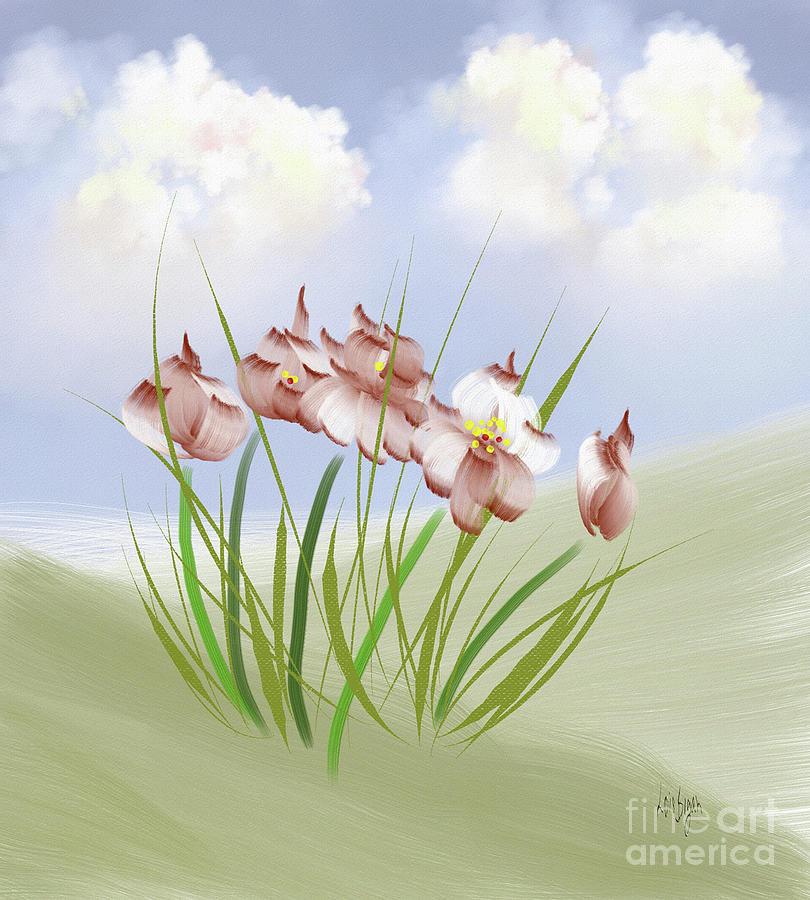 Flower Digital Art - Flowers On The Hillside by Lois Bryan