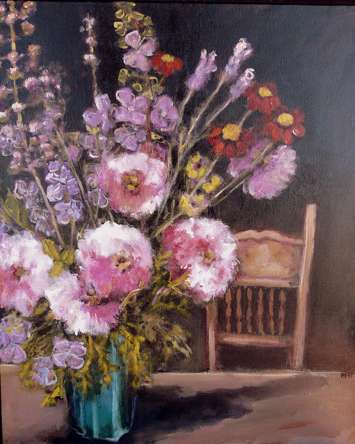Floral Painting - Flowers On The Kitchen Table by Juliet Mevi